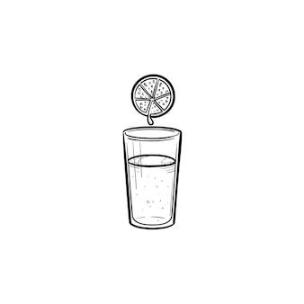 Copo de suco de mão desenhada contorno doodle ícone. ilustração de desenho vetorial de suco de laranja refrescante para impressão, web, mobile e infográficos isolados no fundo branco.