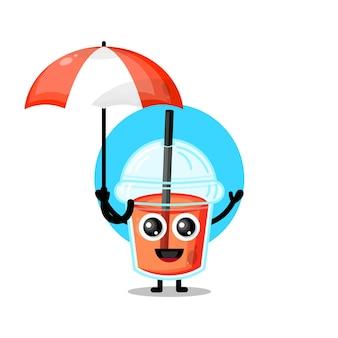 Copo de suco de plástico, guarda-chuva, mascote fofa personagem