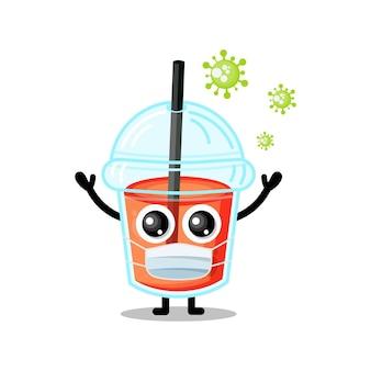 Copo de suco de plástico máscara vírus mascote personagem fofinho