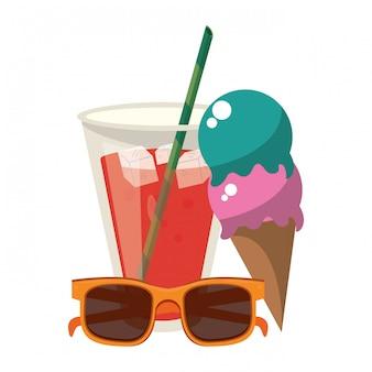 Copo de suco de sorvete de verão e óculos de sol dos desenhos animados