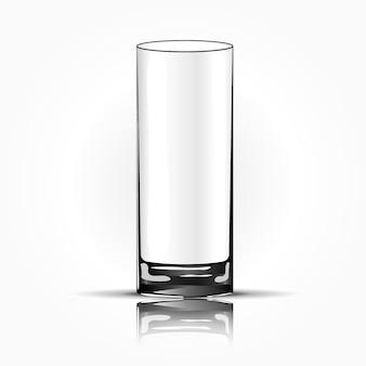 Copo de vidro vazio, isolado. ilustração vetorial
