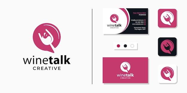 Copo de vinho com ícone de logotipo de sinal de bate-papo e modelo de design de cartão de visita