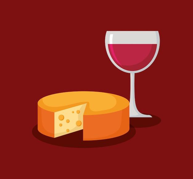 Copo de vinho com queijo