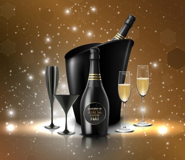 Copo de vinho com uma garrafa de champanhe