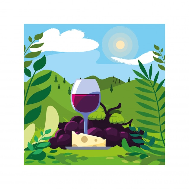 Copo de vinho com uvas e porção de queijo