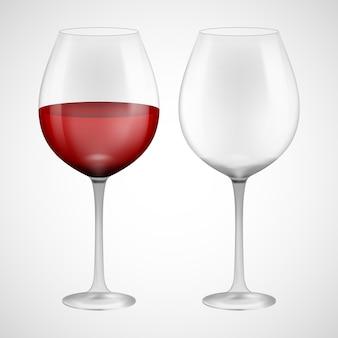 Copo de vinho com vinho tinto. ilustração no fundo.