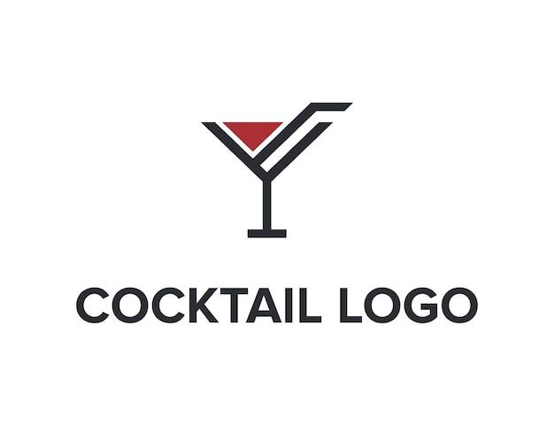 Copo de vinho de coquetel contorno simples, elegante e moderno design de logotipo em vetor