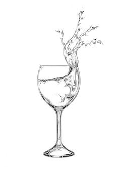 Copo de vinho de esboço desenhado de mão com spray de líquido na cor preta. isolado