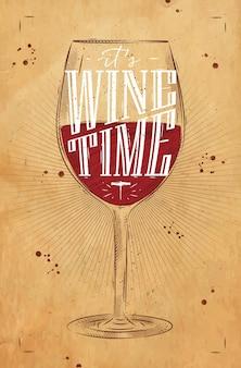 Copo de vinho de pôster rotulando a hora do vinho, desenhando em estilo vintage em fundo kraft