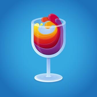 Copo de vinho de vetor com bebidas do arco-íris brilhante