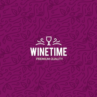 Copo de vinho e uvas vintage letras fundo