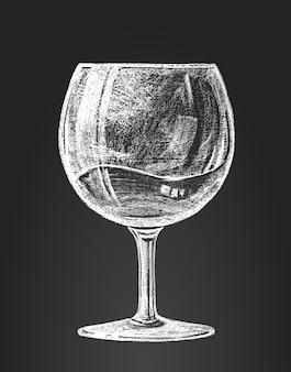 Copo de vinho no quadro-negro. rgb. cores globais. organizado por camadas. gradientes grátis