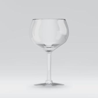 Copo de vinho renderizado 3d transparente vazio