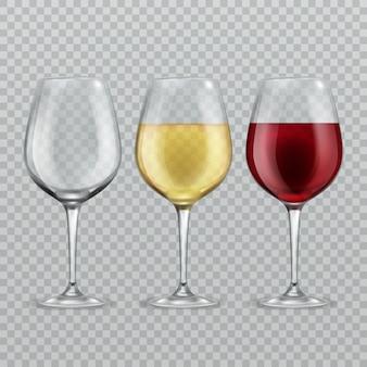 Copo de vinho. vazio com vinho tinto e branco em copos de vinho transparant isolados