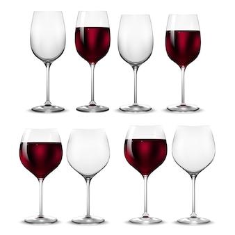 Copo de vinho vazio e cheio de transparência. .