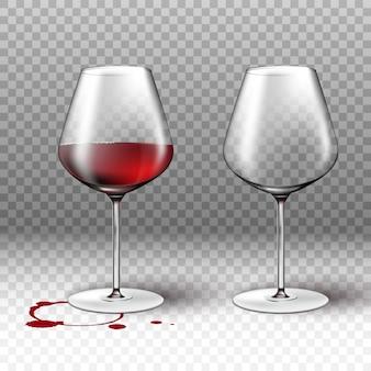 Copo de vinho vazio e cheio em fundo transparente com mancha vermelha para listas de menu e restaurante