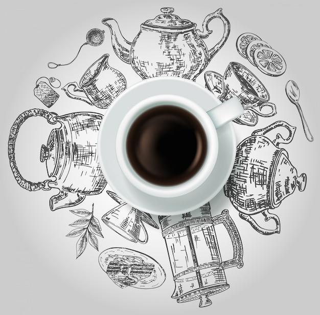 Copo de vista superior realista de chá preto com itens de chá doodle mão desenhada em torno dele.