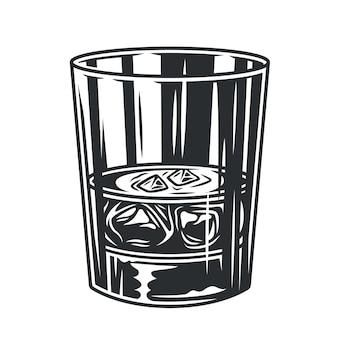 Copo de whisky com copo de gelo monocromático