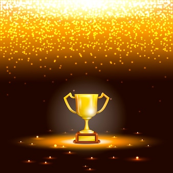 Copo do vencedor com chuva da faísca.