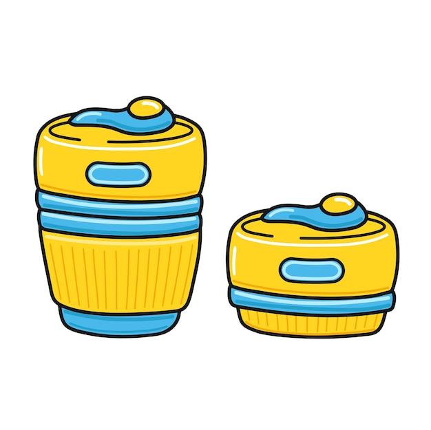 Copo dobrável de silicone. vetorial mão desenhada doodle ícone de ilustração dos desenhos animados de linha. isolado no fundo branco. abra e feche o copo reutilizável, conceito de caneca dobrável ecológica