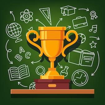 Copo dourado de sucesso educacional