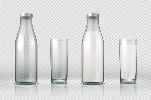 Copo e garrafa com leite. frasco de vidro vazio, meio cheio e cheio realista, produto lácteo de maquete 3d. vetor definido com bebida láctea no recipiente