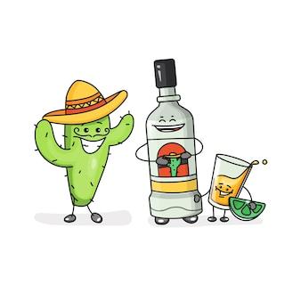 Copo e garrafa de tequila cactus com ícone de sombrero com emoções esboçar estilo cômico linear