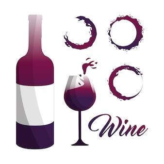 Copo e garrafa de vinho com bolhas ícone