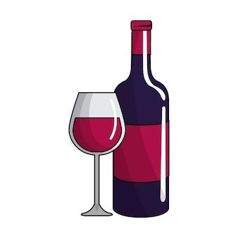 Copo e garrafa de vinho ícone