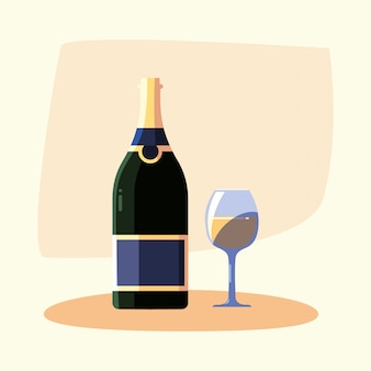 Copo e garrafa de vinho