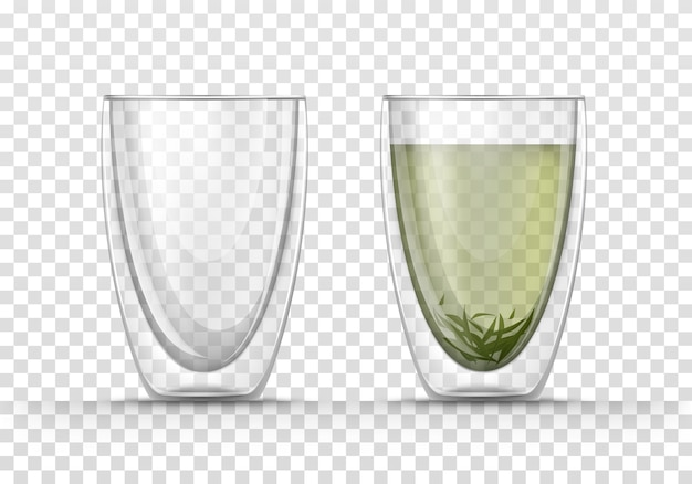 Copo em branco com paredes duplas e caneca com chá verde.