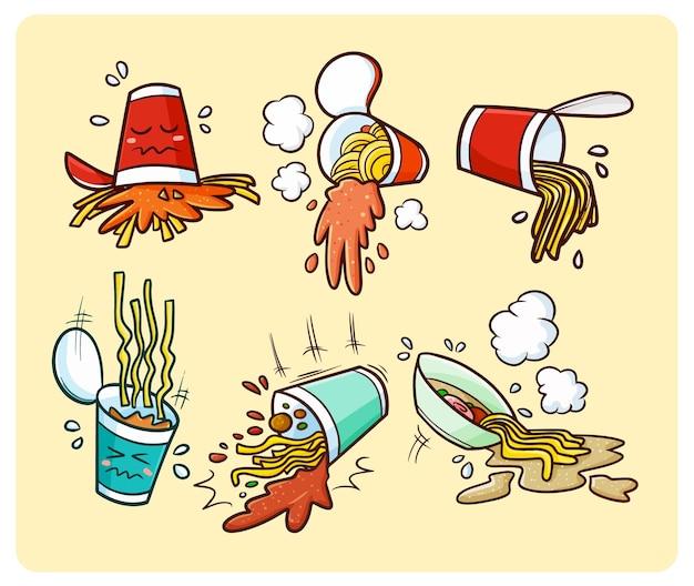 Copo engraçado de macarrão derramado em estilo simples de doodle