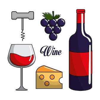 Copo, garrafa de vinho, uva, queijo e tirar cortiça