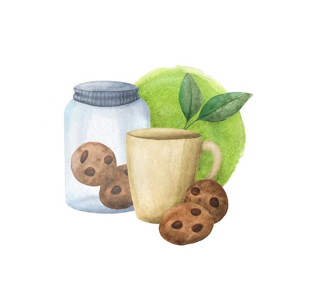 Copo, jarra de vidro com biscoitos, chá verde. composição ecológica