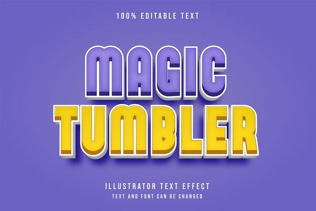 Copo mágico, efeito de texto editável em 3d estilo amarelo roxo