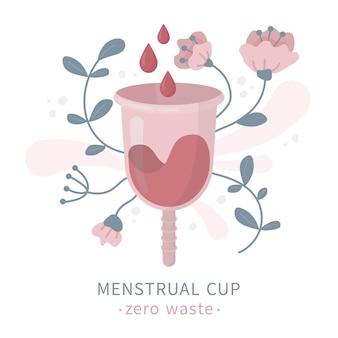 Copo menstrual em flores durante o período e a menstruação