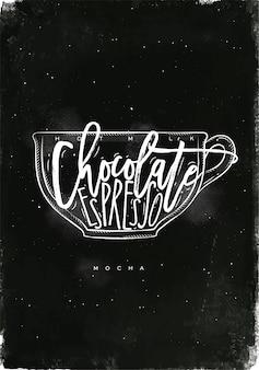 Copo mocha com letras de leite quente, chocolate, café expresso em estilo gráfico vintage, desenho com giz no fundo do quadro-negro