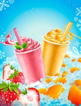 Copo para viagem picada de gelo de verão nos sabores de manga e morango com frutas frescas e elementos de gelo
