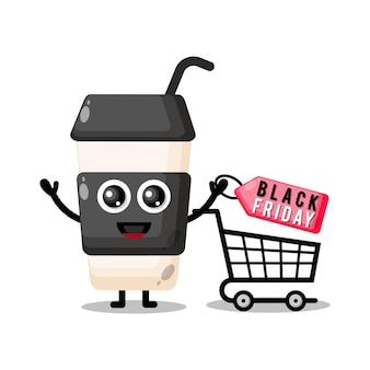 Copo plástico de café preto sexta-feira mascote fofo personagem