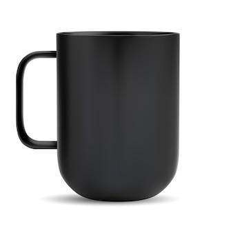 Copo preto. café de cerâmica ou caneca de chá. xícara de chá de vidro esteira realista com alça.