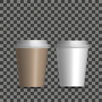 Copo realístico do café do papel vazio do vetor ajustado isolado.
