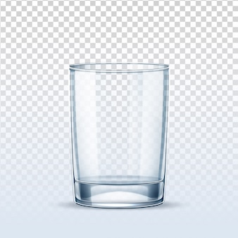 Copo vazio realista de vetor para água pura