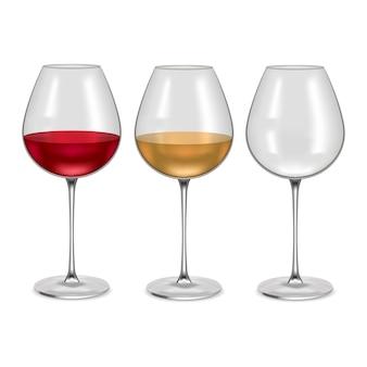 Copo vazio realista e com vinho tinto ou branco definido bebida alcoólica