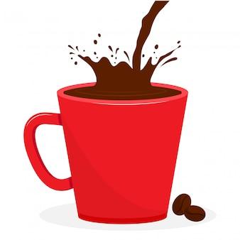 Copo vermelho com café, bebida de respingo. grãos de café. ilustração