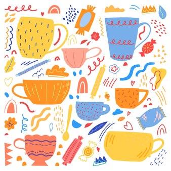 Copos bonitos, canecas de ilustração vetorial desenhada de mão plana. coleção colorida em estilo abstrato escandinavo. conjunto de elementos simples de cozinha aconchegante para o projeto.