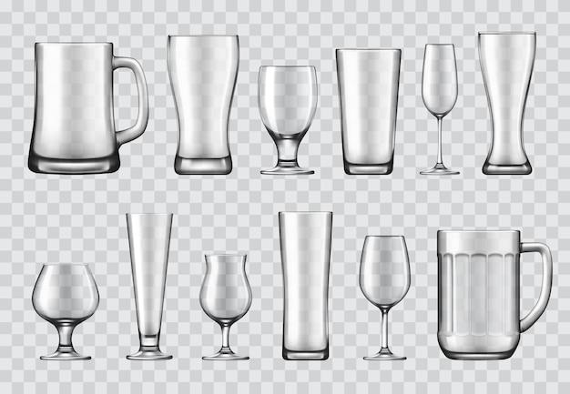 Copos, canecas e taças de vinho, conjunto de louças
