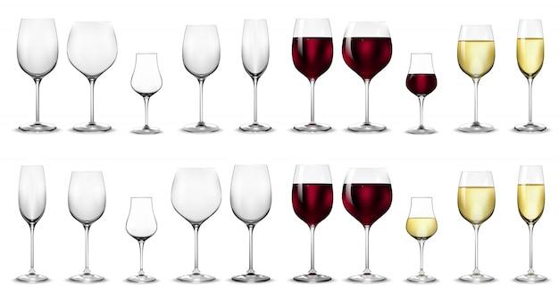 Copos cheios e vazios para vinho branco e tinto.