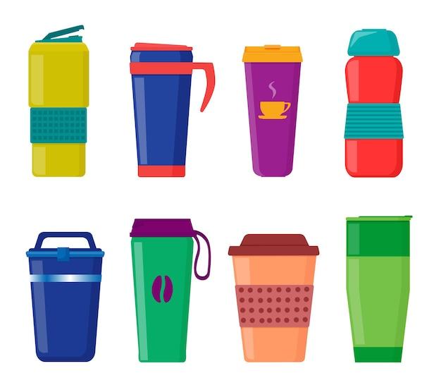 Copos com tampa, canecas térmicas turísticas, canecas reutilizáveis para bebidas quentes. vetor