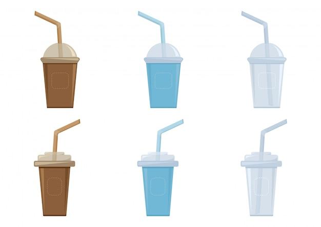 Copos com tampa de plástico e palha para café, chá, cappuccino, café expresso.