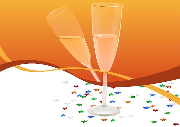 Copos de bebida festiva com champanhe em fundo laranja